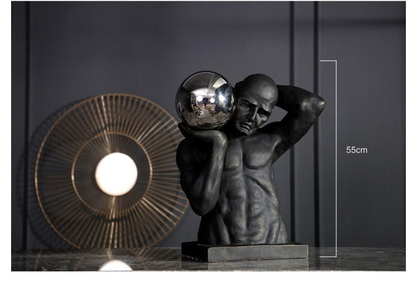 Modern Strong Athletic Man Holding Stainless Steel Ball Large Statue for Home Decor