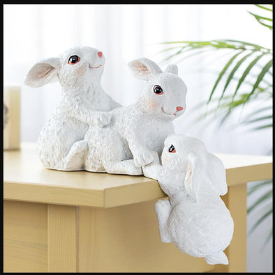 Resin Rabbit Decoration Ornaments Crafts - Nordic style Livingroom Animal Figurines Art