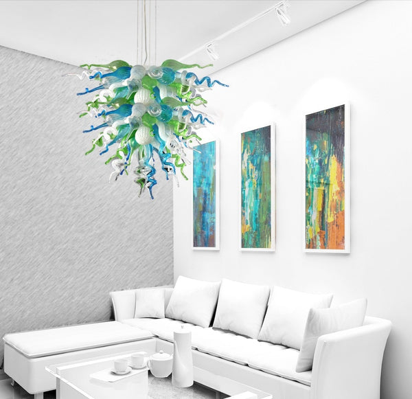 Turquoise Green White American Rustic Pendant Lamps Blown Glass LED Bulbs Chandelier Lighting - Living Room Chandeliers