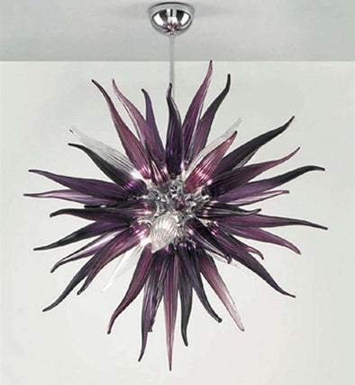 Artistic Round Murano Glass LED Chandelier Lighting Fixture in Dark Purple Color