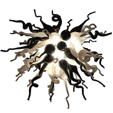 White and Black Glass Chandelier, Hand Blown Glass Light Lamps