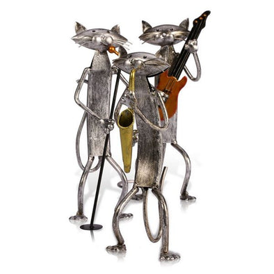 Pop Playing Guitar, Saxophone Cat Figurine
