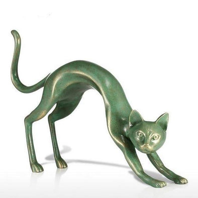 Decorative Stretching Cat Figurine Fiberglass Sculpture 1