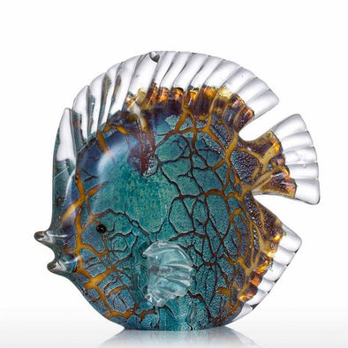 Colorful Spotted Tropical Fish Glass Sculpture 1