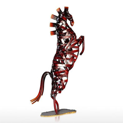 Creative Handcrafted Red Weaving Horse Metal Sculpture