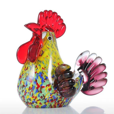 Purely Handmade Miniature Multicoloured Rooster Glass Sculpture