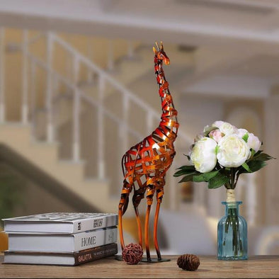 Decorative Iron braided Giraffe Metal Sculpture 7
