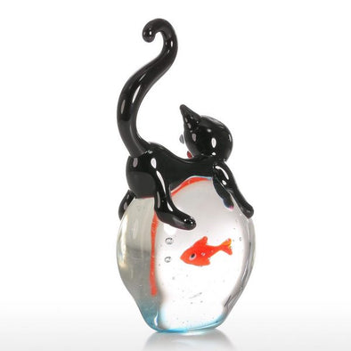 Cat and Goldfish Figure Exquisite Glass Sculpture 1