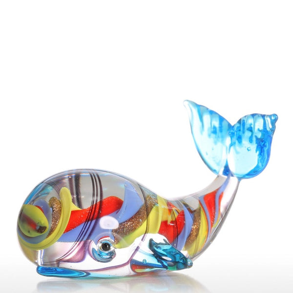 Mini Whale Glass Sculpture with Spiral Pattern