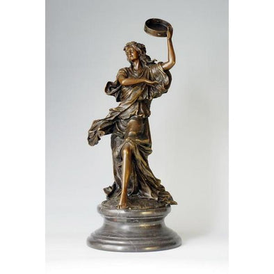 Antique Dancing Woman With Drum Bronze Statue