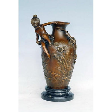 Antique Flower Vase Sculpture with Angels