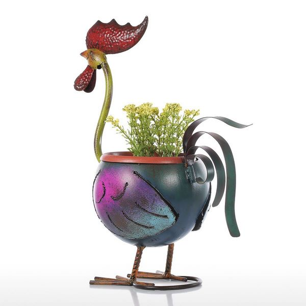 Long Nack Rooster Flower Pot Handmade Sculpture