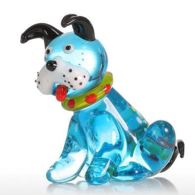 Multicolored Mini Dog Glass Sculpture -  4