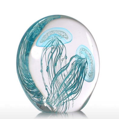 Handmade Light Blue Jellyfish Glass Sculpture Home Decoration 1