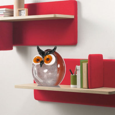 Cute Multicolored Chubby Owl Glass Sculpture