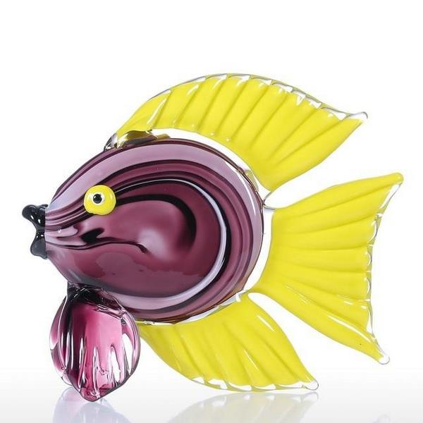 Exquisite Yellow Tropical Fish Glass Sculpture 6