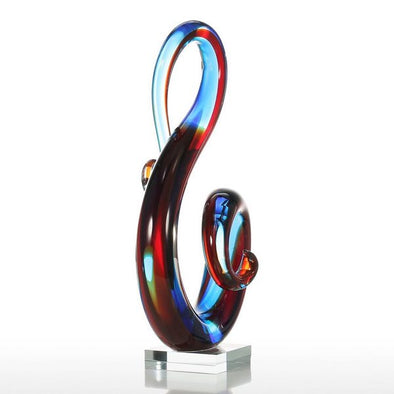 Multicolored Music Note Glass Sculpture with Crystal Clear Look