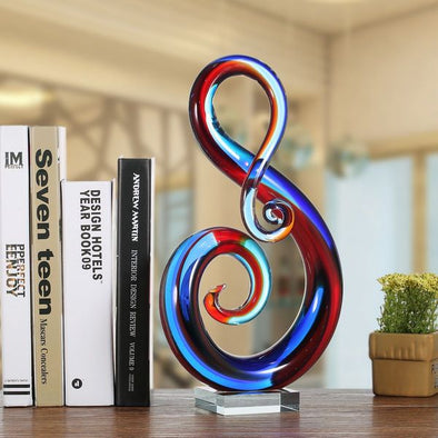 Multicolored Music Note Glass Sculpture with Crystal Clear Look - 4