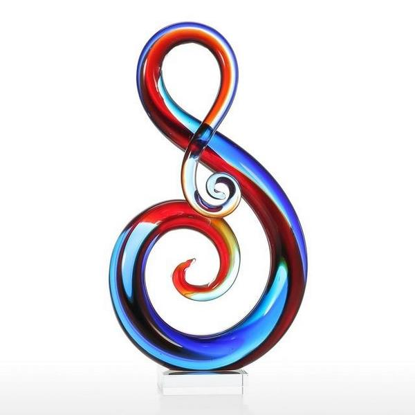 Multicolored Music Note Glass Sculpture with Crystal Clear Look - 5