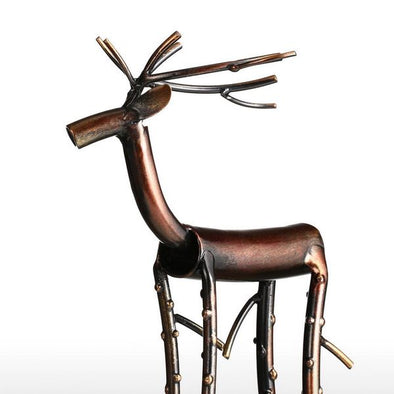 Brown Long Legged Moose Figurine Iron Sculpture 1