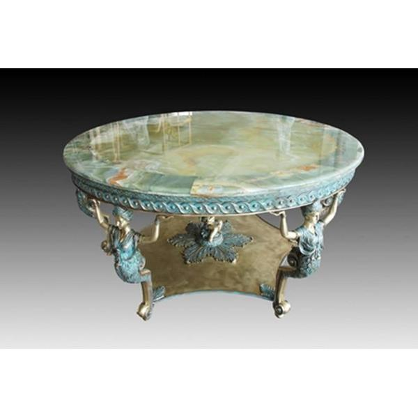Bronze and Marble Round Table Statue
