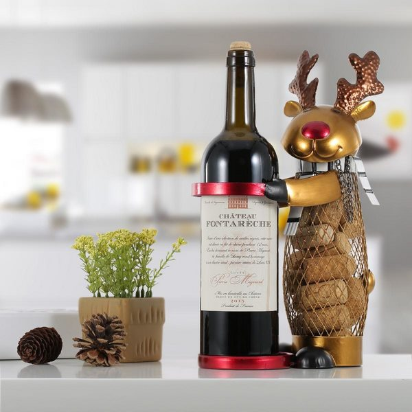 Christmas Reindeer Wine Rack with Cork Holder 1