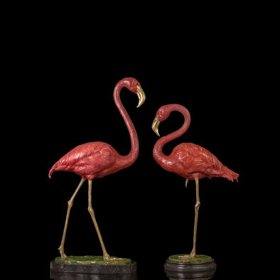 Elegant Pair of Flamingo Bronze Sculpture