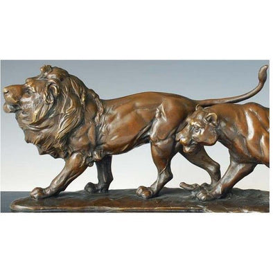 Modern Lion and Lioness Animal Statue