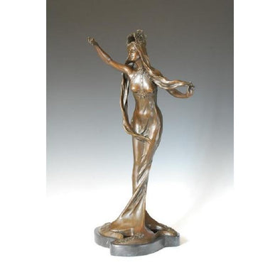 Antique Long Hair Lady Statue Sculpture