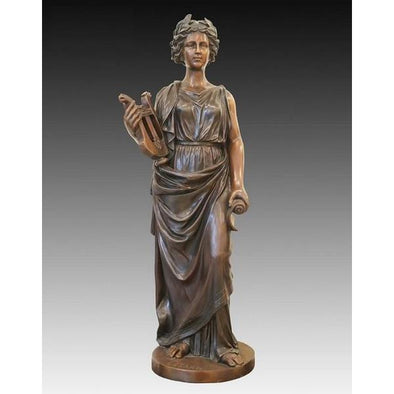 Antique Music Girl Bronze Sculpture
