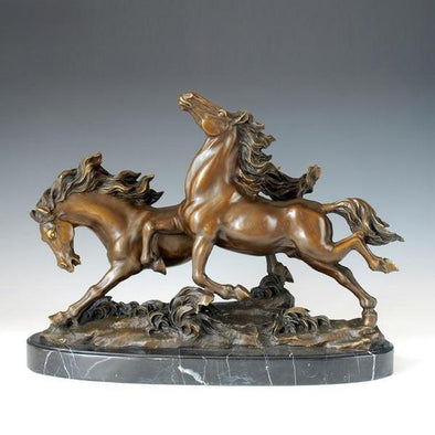 Decorative Double Horse Running Bronze Statue