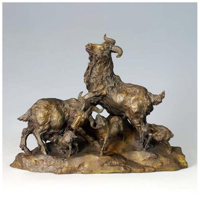 Modern Five Sheep Animal Sculptures & Bronze Figurines