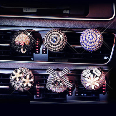 Car Air Freshener - Crystal Diamond Flower Air Condition Vent Perfume