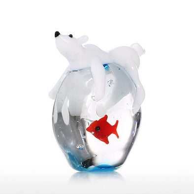 Polar Bear and Fish Decorative Sculpture - 5