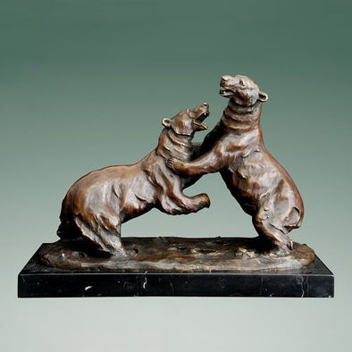 Elegant Two Polar Bears Playing Animal Sculpture