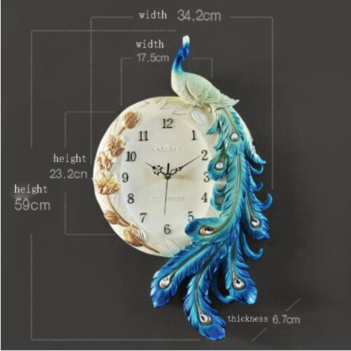 European Style Peacock Wall Clock 2