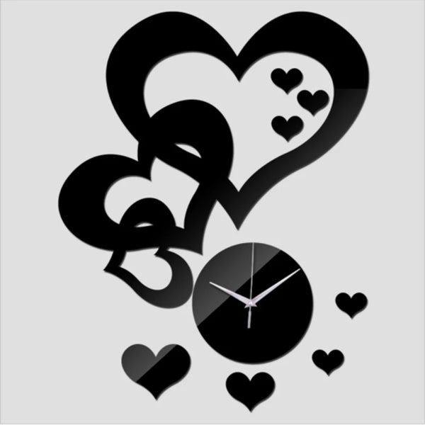 3D Heart Wall Clock Stickers