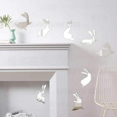 Dance Rabbit Decorative Mirror Wall Stickers (11 colors, 3 sizes)
