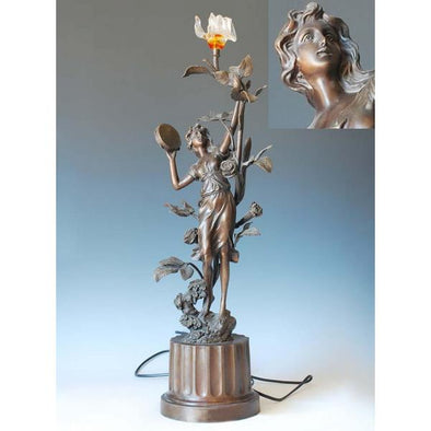 Beautiful Girl Lighting Art Bronze Statue