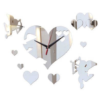 3D DIY Heart Mirror Clocks Sticker with Love Cupid