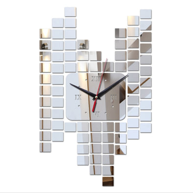 3D Square Mirror Wall Clock Sticker
