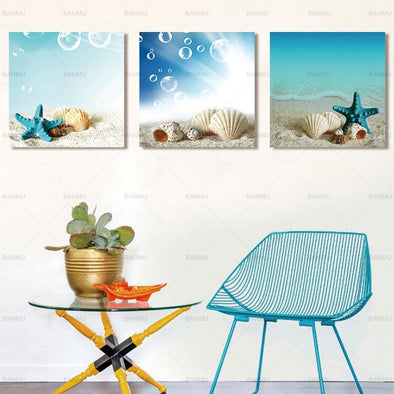 Starfish Shell & Sea Canvas Printing