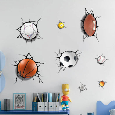 3D Wall Sticker - A Lot of Balls Broken Wall