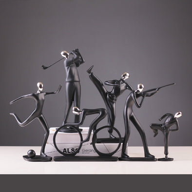 Stylish sports, music and dancing figurines