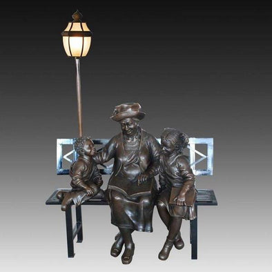 Children with grandma Road light Decor Sculpture 1