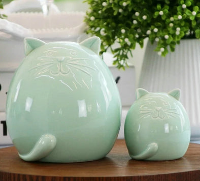 Ceramic Miniature Cat Green Figurines