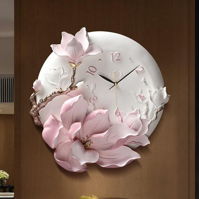 Unique Peony Wall Clock for Home Decoration