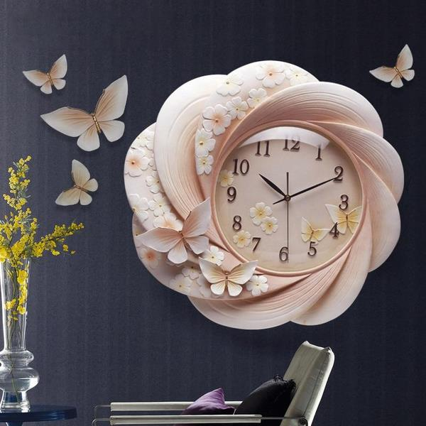 3D Embossed Decorative Resin Wall Clock