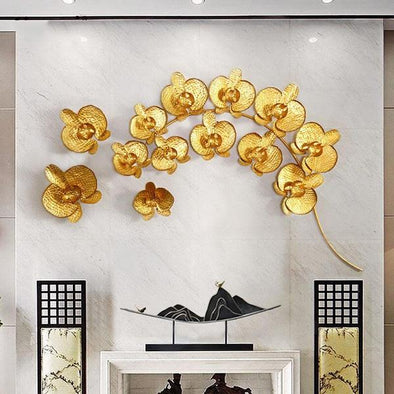 Creative 3D Wrought Iron Gold Magnolia Crafts