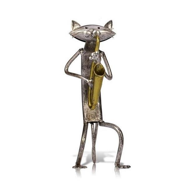 Pop Playing Guitar, Saxophone Cat Figurine - 8